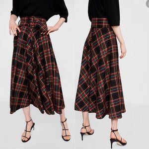 NWT Zara Plaid Checked Belted Midi Skirt XS